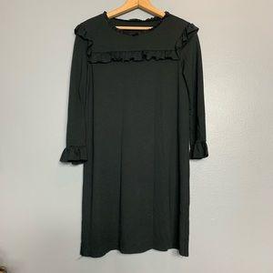 ZARA | black ruffle long sleeve raw edge dress S